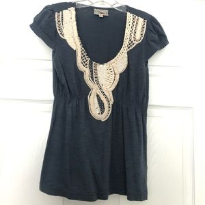 Anthropologie Blue and Cream Top